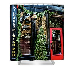 Kildares Irish Pub At Christmas Shower Curtain