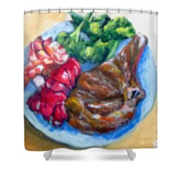 Shower Curtain featuring the painting Killer Meal by Saundra Johnson