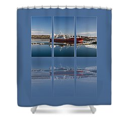 Killybegs Harbour Triptych Shower Curtain by Martina Fagan