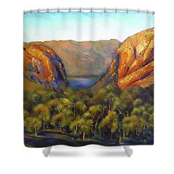 Shower Curtain featuring the painting Kimberley Outback Australia by Chris Hobel