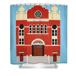 Shower Curtain featuring the painting King Edward Street Shul by Stephanie Moore