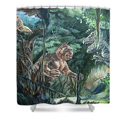 Shower Curtain featuring the painting King Kong Vs T-rex by Bryan Bustard