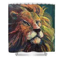 Shower Curtain featuring the painting Aslan by Lisa DuBois