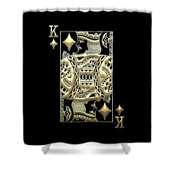 King Of Diamonds In Gold On Black  Shower Curtain