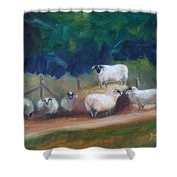 Shower Curtain featuring the painting King Of Green Hill Farm by Donna Tuten
