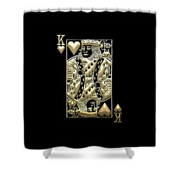 King Of Hearts In Gold On Black Shower Curtain