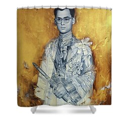 Shower Curtain featuring the painting King Phumiphol by Chonkhet Phanwichien