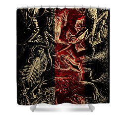 Shower Curtain featuring the digital art Kingdom Of The Golden Amphibians by Serge Averbukh