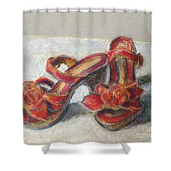 Shower Curtain featuring the pastel Kingdom Shoes by Lisa DuBois