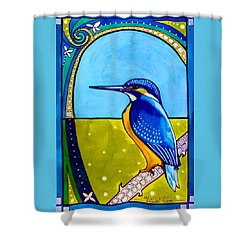 Kingfisher Shower Curtain by Dora Hathazi Mendes