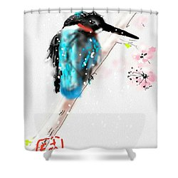 Kingfisher In Late Spring Snow Shower Curtain