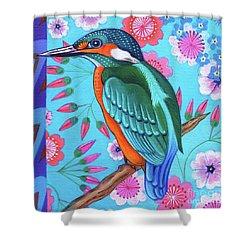 Kingfisher Shower Curtain by Jane Tattersfield