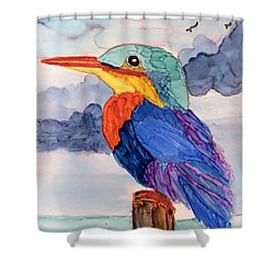 Kingfisher On Post Shower Curtain