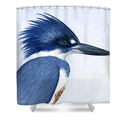 Kingfisher Portrait Shower Curtain by Charles Harden