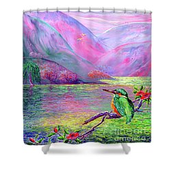 Kingfisher, Shimmering Streams Shower Curtain by Jane Small