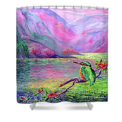 Kingfisher, Shimmering Streams Shower Curtain