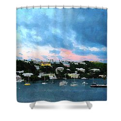 Shower Curtain featuring the photograph King's Wharf Bermuda Harbor Sunrise by Susan Savad