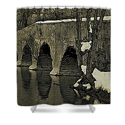 Kingston Bridge Woodprint Shower Curtain