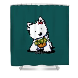 Kiniart Flower Basket Westie Shower Curtain