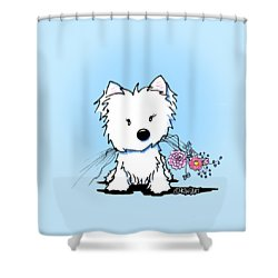 Kiniart Flower Ninja Shower Curtain by Kim Niles