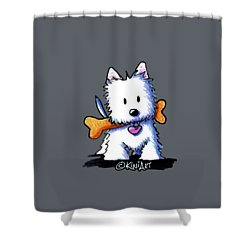 Kiniart Westie With Bone Shower Curtain