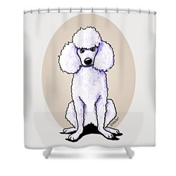 Kiniart White Poodle Shower Curtain by Kim Niles