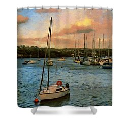 Shower Curtain featuring the painting Kinsale Harbour Evening by Jeff Kolker