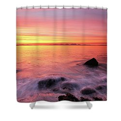 Shower Curtain featuring the photograph Kintyre Rocky Sunset 3 by Grant Glendinning