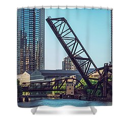 Kinzie Bridge And Rail Bridge Shower Curtain