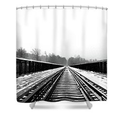 Shower Curtain featuring the digital art Kinzua Bridge Skywalk by Sharon Batdorf