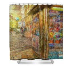 Kiosk - Prague Street Scene Shower Curtain