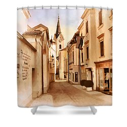 Kirchengasse In Ybbs Mit Loeb Geschaeft Shower Curtain by Menega Sabidussi