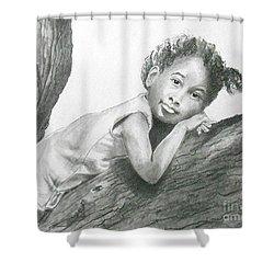 Kirikou, Dreaming -- Portrait Of Little African-american Girl Shower Curtain