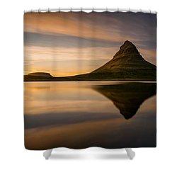 Kirkjufell Reflection Shower Curtain by Swen Stroop