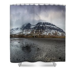 kirkjufellsfoss From Black Beach Shower Curtain