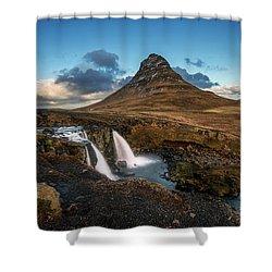 Kirkjufellsfoss Waterfall And Kirkjufell Mountain, Iceland Shower Curtain