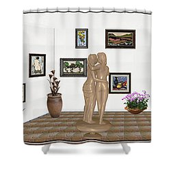 Shower Curtain featuring the mixed media Kiss 3 by Pemaro