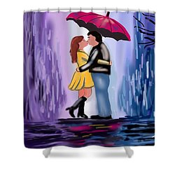 Kiss In The Rain Shower Curtain