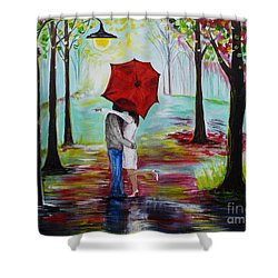 Kiss Me In The Rain Shower Curtain by Leslie Allen