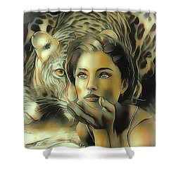 Kiss Of The Leopard Woman Shower Curtain