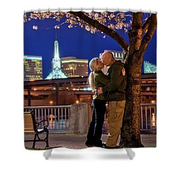 Kiss Under The Cherry Tree - Vertical Shower Curtain