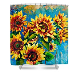 Shower Curtain featuring the painting Kissed By God by Karen Showell