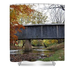 Kissing Bridge At Fall Shower Curtain by Eric Liller