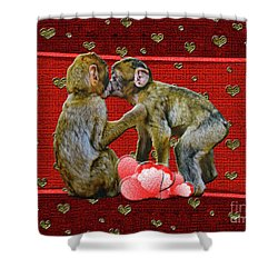 Kissing Chimpanzees Hearts Shower Curtain