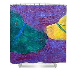 Shower Curtain featuring the painting Kissing Dog by Donald J Ryker III