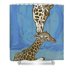 Kissing - Giraffe Stylised Pop Art Poster Shower Curtain