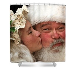 Kissing Santa Claus Shower Curtain