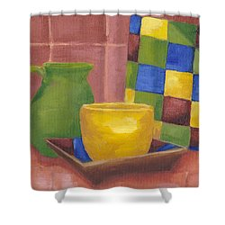 Shower Curtain featuring the painting Kitchen Corner by Patricia Cleasby