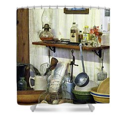 Kitchen With Wire Basket Of Eggs Shower Curtain by Susan Savad