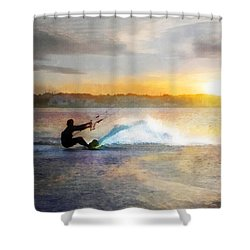 Kite Boarding At Sunset Shower Curtain